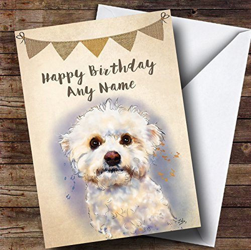Vintage Burlap Bunting Bichon Frise Dog Personalised Birthday Card from Fingerprint Designs