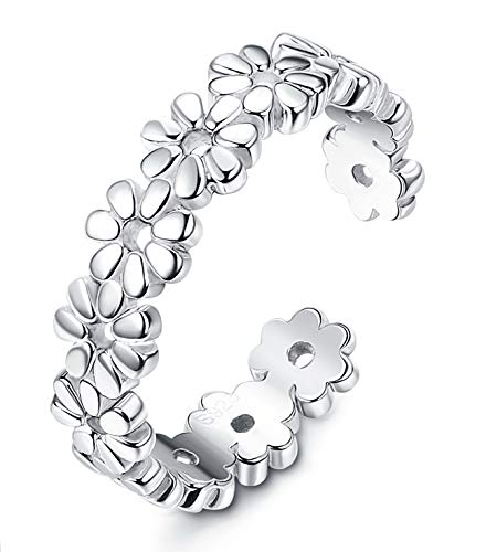 Finrezio 925 Sterling Silver Toe Rings for Women Girls Foot Jewelry Hawaiian Beach Flower Ring Adjustable from Finrezio
