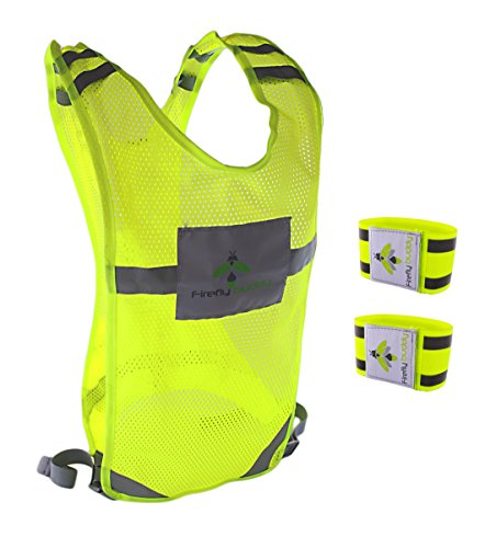 Reflective vest for Running Road Cycling Dog Walking, High Visibility Bike Reflector, Adjustable Safety Gear w/ Bands and Pocket for Men & Women (S-M) from Firefly Buddy