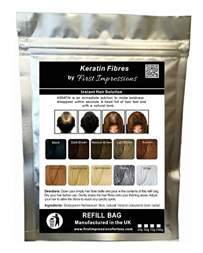 100% Natural Keratin Hair Fibre Refill For Hair Loss - Alopecia & Chemotherapy (300g, Black) from First Impressions Hair Fibres