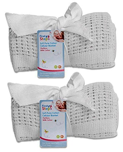 Cellular Blanket Soft Pure 100% Cotton Baby Comfort Newborn White Pack Of 2 from First Steps