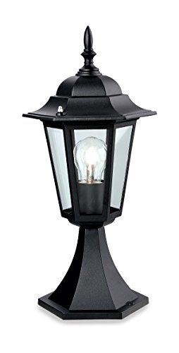 Firstlight E27 IP43 1 x 60 Watt 6-Panel Lantern Pillar, Black from Firstlight Products