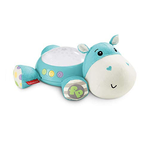 Fisher-Price CGN86 Hippo Plush Projection Soother, New-Born Soft Light Projector White Noise Toy from Fisher-Price