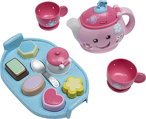 Fisher-Price DYM76 Laugh and Learn Sweet Manners Tea Playset, Toddler Role Play Tea Set Toy for Children with Educational Shape Sorter, Lights and Songs, Suitable 18 Months Plus from Fisher-Price