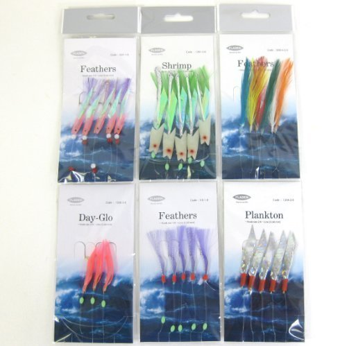 FTD - Fladen Sea Fishing Lures Selection Feathers, Day-Glo and Plankton, - ideal for Mackerel and other sea fishing! from Fishing Tackle Direct
