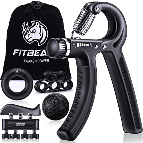 FitBeast Hand Grip Strengthener Forearm Grip Workout Kit - 5 Pack Adjustable Hand Gripper, Finger Exerciser, Finger Stretcher, Exercise Ring & Stress Relief Grip Ball for Athletes and Musicians from FitBeast