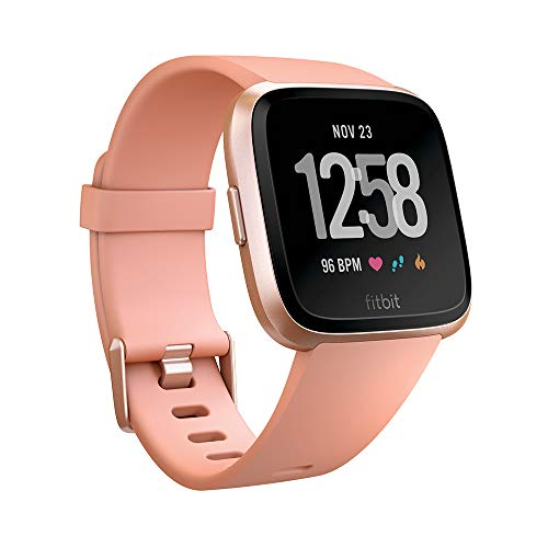 Fitbit Unisex's Versa Health and Fitness Smartwatch, Peach, One Size from Fitbit