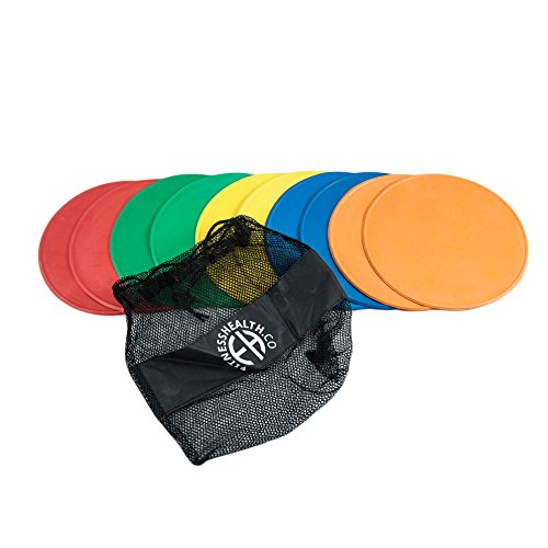 FH Pro Flat Round Disc Markers Non Slip Set of 10 | Landmark Track and Field Markers from Fitness Health