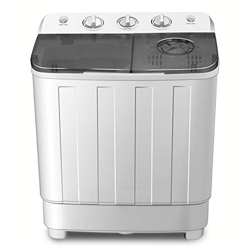 FitnessClub Portable Twin Tub Washing Machine 7.6 KG Total Capacity Washer And Spin Dryer Combo Compact For Camping Dorms Apartments College Rooms 4.6 KG Washer 3 KG Drying Black&White from Fitnessclub