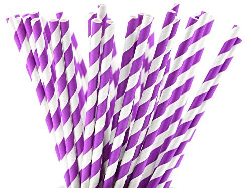 FiveSeasonStuff® 100 Pcs Paper Drinking Straws for Weddings, Birthdays, Baby Showers, Christenings, Engagements, Graduation, Anniversaries, New Years, Holidays, DIY etc / All Season Party Supplies (White|Purple Stripes) from FiveSeasonStuff
