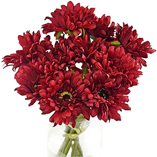 FiveSeasonStuff Artificial Flowers Silk Gerbera Red Bouquet 10 Stems | for Wedding Home Shop Office Restaurant Party Décor | DIY Flowerss Arrangement Decoration 32cm (12.6 inches) from FiveSeasonStuff
