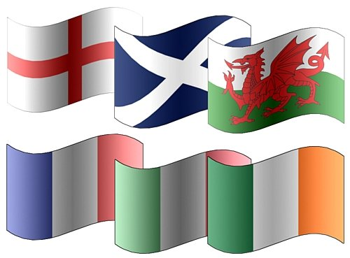 All 6 x Participating Six Nations Rugby 5'x3' Premium Quality Flags - England, Scotland, Ireland, Wales, France & Italy from Flags