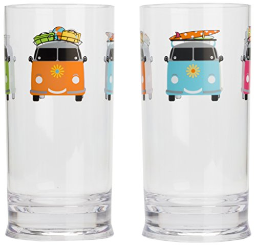 Flamefield Camper Smiles Tall Tumbler Glasses - Pack of 2 - Transparent from Flamefield