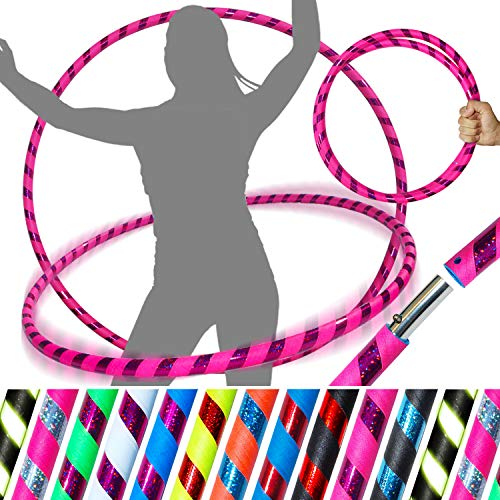 PRO Hula Hoops (Ultra-Grip/Glitter Deco) Weighted TRAVEL Hula Hoop (100cm/39') Hula Hoops For Exercise, Dance & Fitness! (640g) NO Instructions Needed - Same Day Dispatch! (Pink / Purple Glitter) from Flames 'N Games