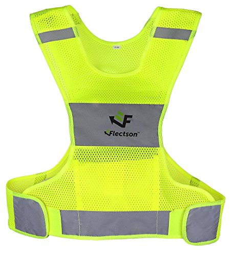 Reflective Vest for Running or Cycling (Women and Men, with Pocket, Gear for Jogging, Biking, Walking) (Large) from Flectson™