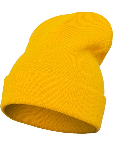 Flex fit Unisex's Heavyweight Long Beanie gold one size Yupoong Headwear from Flex fit
