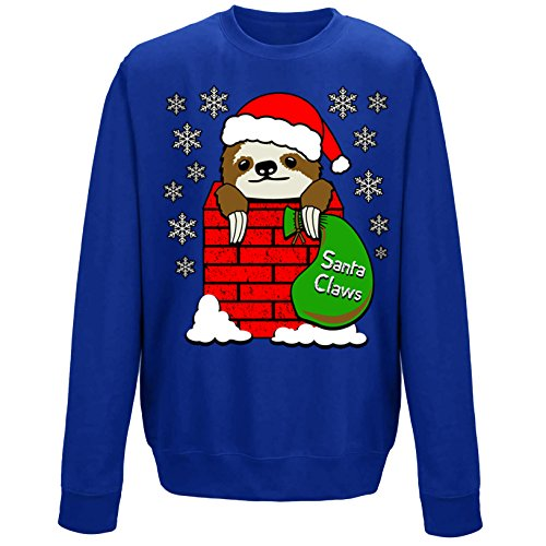 Santa Claws Cute Sloth in Chimney Festive Christmas Crew Neck Youth Kids Childrens Sweatshirt Royal Blue 9-11 Years (L) from Flip