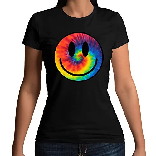 Womens Tie Dye Smiley Face Acid Rave T-shirt Black UK 8-10 (M) from Flip