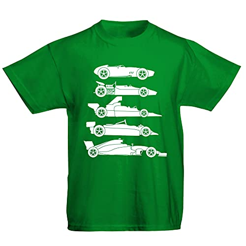 Youth Kids Childrens Evolution of The Formula F Car 1 One T-Shirt Green 7-8 Years (M) from Flip