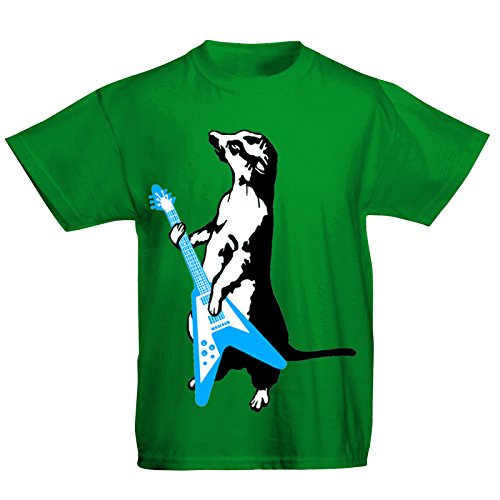 Youth Kids Childrens Meerkat Playing Guitar Funny Rock Music T-Shirt Green 7-8 Years (M) from Flip