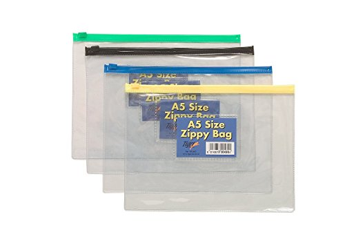 A5 Zip / Document Wallets. Pack of 5 Assorted Colours. from Tiger