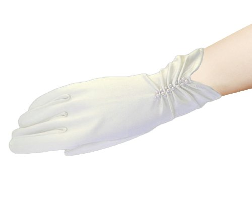 "Flora Satin Wrist Length Fingered Wedding/Prom Glove with pearls,10"" L (IVORY) from Flora"