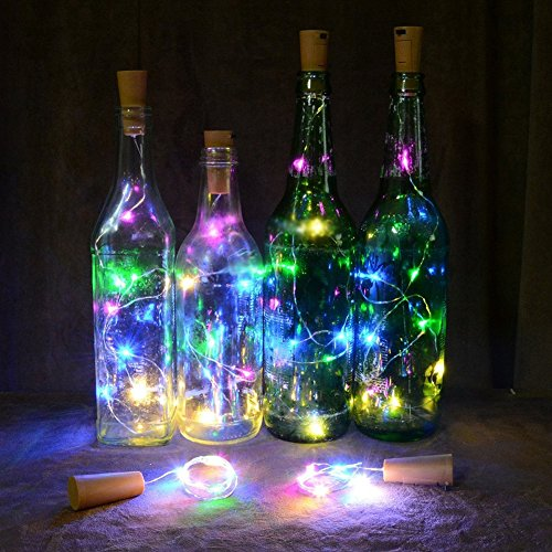 Flybuild® 15/20 LED Wine Bottle Cork Lights Silver Wire Battery Operated String Lights for Bottle DIY Decor, Outdoor BBQ, Gathering, Party, Wedding, Holiday, Christmas Decoration (20 Multicolor LED Bulbs, 2M)