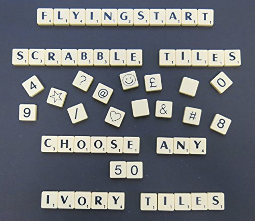 Flyingstart Pick and Mix Ivory Scrabble tiles - Choose your own Letters (Pack of 50) from Flyingstart