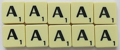 Scrabble Tiles Single Letters - Packs of 10 Ivory Plastic Tiles with Black Letters (Tile A) from Flyingstart