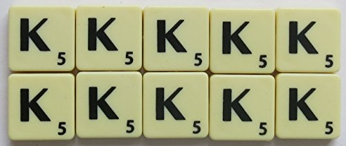 Scrabble Tiles Single Letters - Packs of 10 Ivory Plastic Tiles with Black Letters (Tile K) from Flyingstart