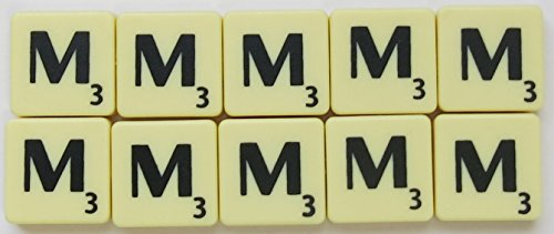 Scrabble Tiles Single Letters - Packs of 10 Ivory Plastic Tiles with Black Letters (Tile M) from Flyingstart