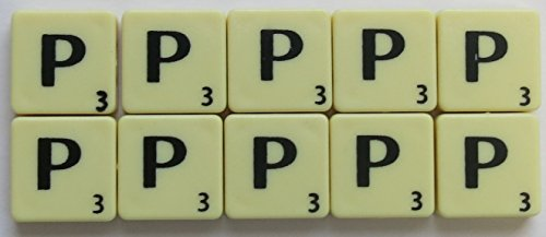 Scrabble Tiles Single Letters - Packs of 10 Ivory Plastic Tiles with Black Letters (Tile P) from Flyingstart