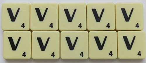 Scrabble Tiles Single Letters - Packs of 10 Ivory Plastic Tiles with Black Letters (Tile V) from Flyingstart
