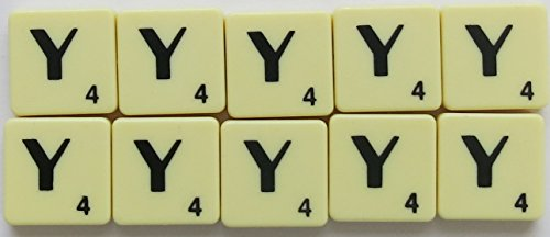 Scrabble Tiles Single Letters - Packs of 10 Ivory Plastic Tiles with Black Letters (Tile Y) from Flyingstart