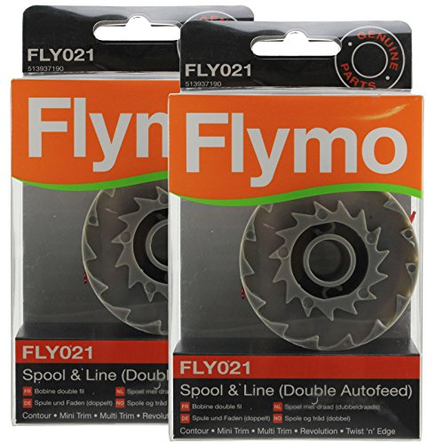 Flymo Genuine Twist 'n' Edge Strimmer Spool & Line Double Autofeed (Pack of 2, FLY021) from Flymo
