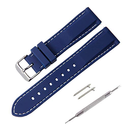 Watch Strap, Fmway Quick Release Silicone Rubber Replacement Wrist Watch Bands Straps for Men and Woman, 18mm, 20mm, 22mm, 24mm, Multiple Colors (22mm, Dark Blue) from Fmway