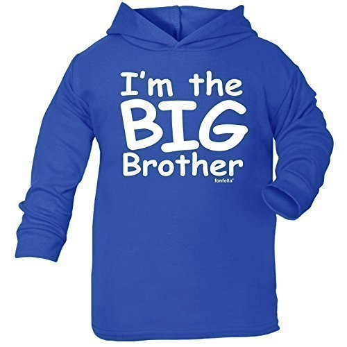 Baby I'm The Big Brother Design Cotton Hoodie TEE (12-24 Months - Royal Blue) Toddler Clothing Novelty Hoody Birthday Gifts Hoodies from 123t