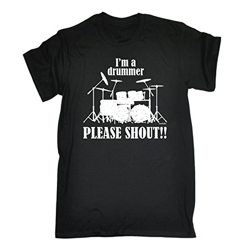 I'M A DRUMMER - PLEASE SHOUT !! (XXL - BLACK) NEW PREMIUM LOOSE FIT T-SHIRT - slogan funny clothing joke novelty vintage retro t shirt top men's ladies women's girl boy men women tshirt tees tee t-shirts shirts fashion urban cool geek drum drum sticks drumkit drum heads cases ear protection pearl snare drummer music percussion brushes day for him her brother sister mum dad mummy daddy father mother birthday ideas gifts christmas present gift S M L XL 2XL 3XL 4XL 5XL - by Fonfella from Fonfella Slogans