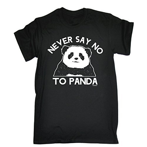 NEVER SAY NO TO PANDA (M - BLACK) NEW PREMIUM LOOSE FIT T-SHIRT - slogan funny clothing joke novelty vintage retro t shirt top men's ladies women's girl boy men women tshirt tees tee t-shirts shirts fashion urban cool geek panda cheese cute angry tumblr costume fancy dress day for him her brother sister mum dad mummy daddy father mother birthday ideas gifts christmas present gift S M L XL 2XL 3XL 4XL 5XL - by Fonfella from Fonfella Slogans