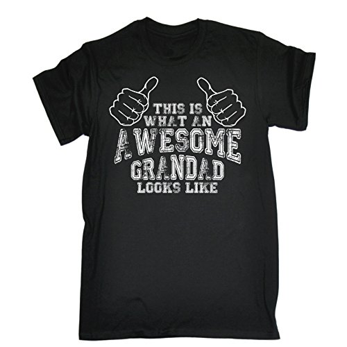 This is What an Awesome Grandad Looks Like (4XL - Black) New Premium Loose FIT Baggy T-Shirt Slogan Funny Clothing Joke Novelty Vintage Retro t Shir Men's Shirt Tee Tshirt Mens tees Shirts Quotes coo from 123t