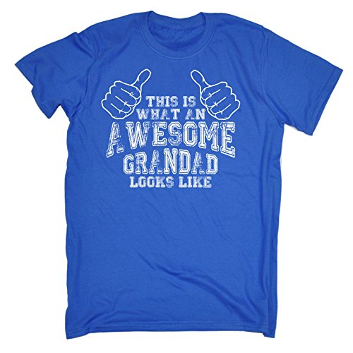 This is What an Awesome Grandad Looks Like (4XL - Royal Blue) New Premium Loose FIT Baggy T-Shirt Slogan Funny Clothing Joke Novelty Vintage Retro t Men's Shirt Tee Tshirt Mens Shirts Tshirts h from 123t