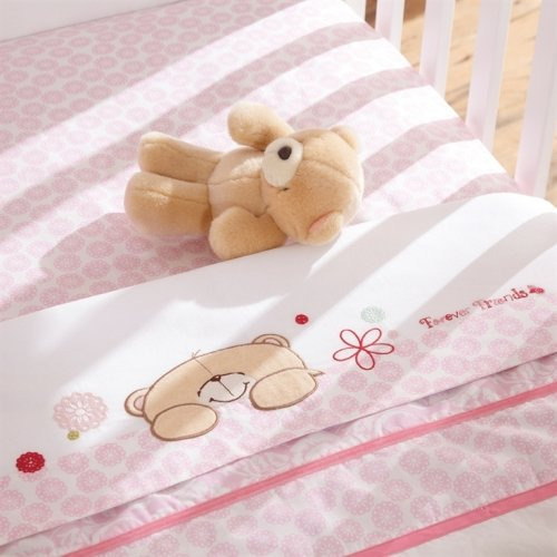 Forever Friends Cot Bed Flat and Fitted Sheet (Pack of 2, Beautiful Pink) from Forever Friends