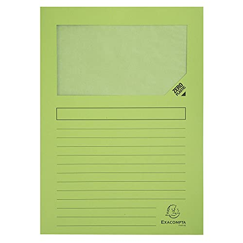 Exacompta - Ref. 50253E - Forever Window Folders, 120 gsm, A4 - Light Green, Pack of 25 from Exacompta