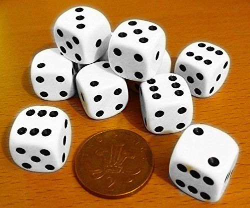 Dice, spot-pack of 10 x 16mm. diameter.00563 from Witzigs