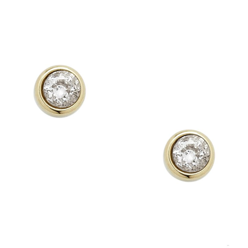 Ladies Fossil Gold Plated Round Stud Earrings from Fossil Jewellery