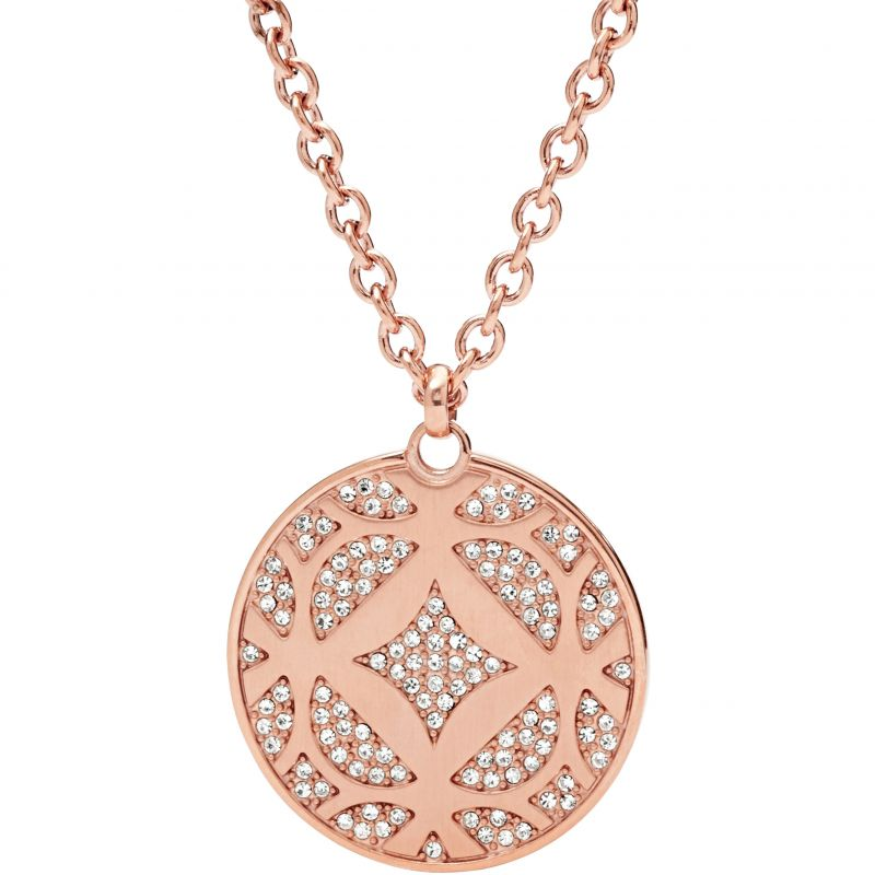 Ladies Fossil PVD rose plating ICONIC NECKLACE from Fossil Jewellery