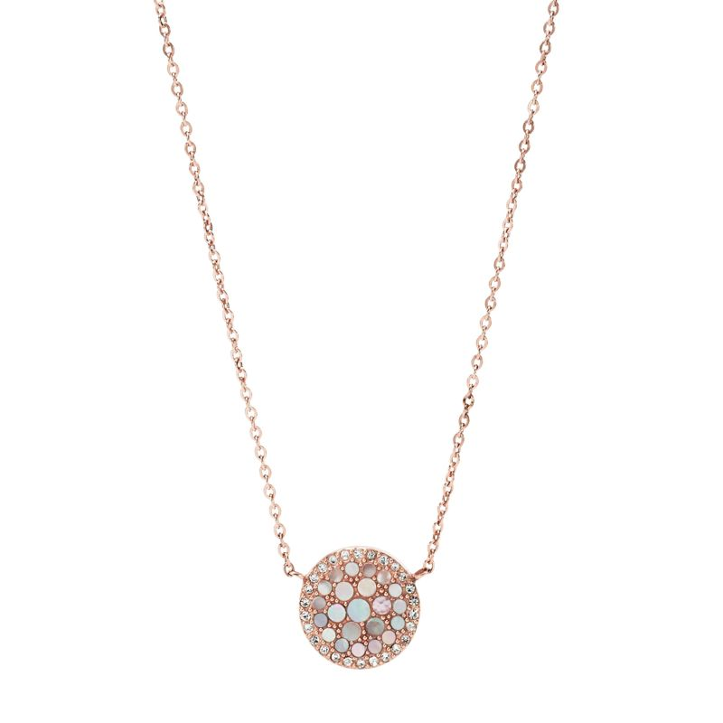Ladies Fossil Rose Gold Plated Mother of Pearl Disc Necklace from Fossil Jewellery