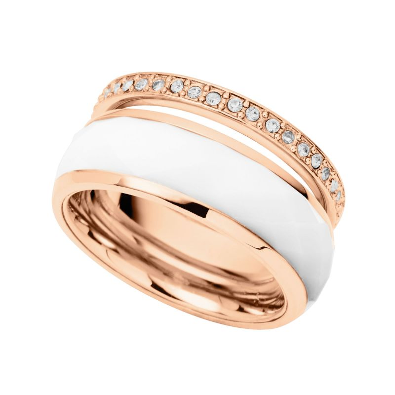 Ladies Fossil Rose Gold Plated Size P Ring from Fossil Jewellery
