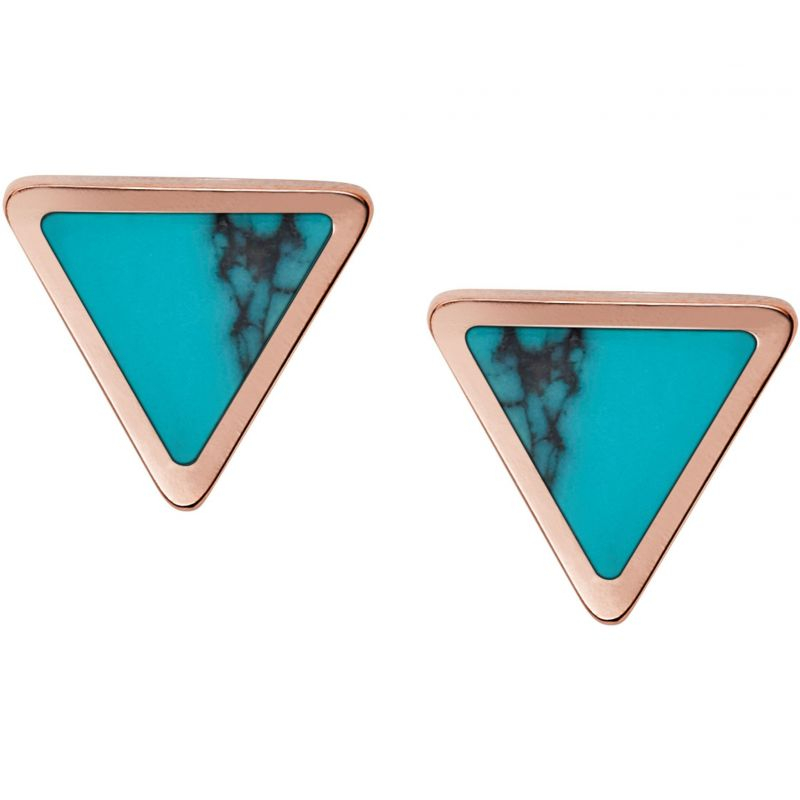 Ladies Fossil Rose Gold Plated Turquoise Stud Earrings from Fossil Jewellery