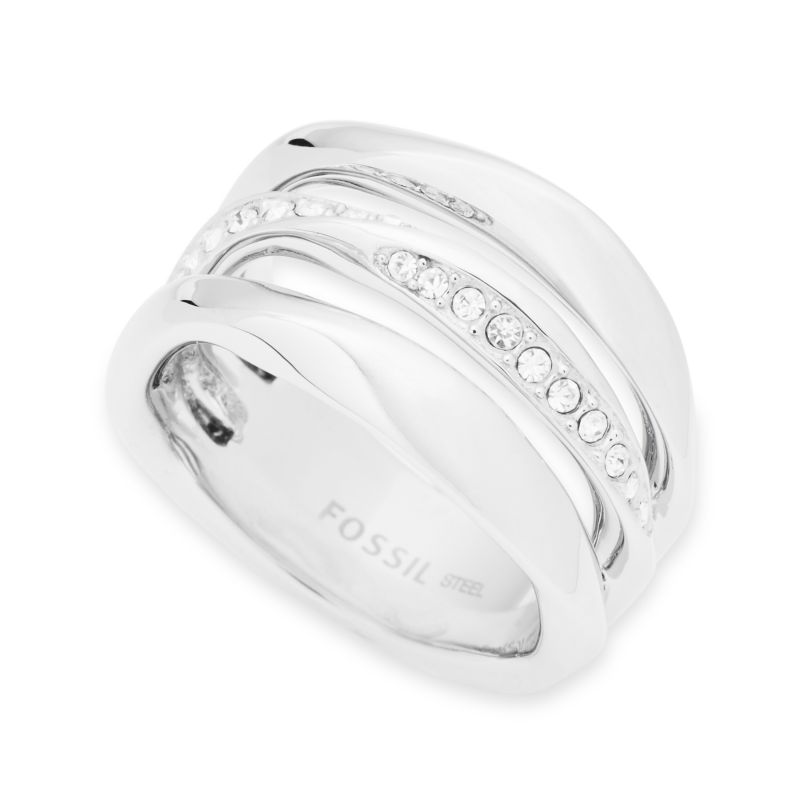 Ladies Fossil Silver Plated Size M.5 Ring Size L.5 from Fossil Jewellery